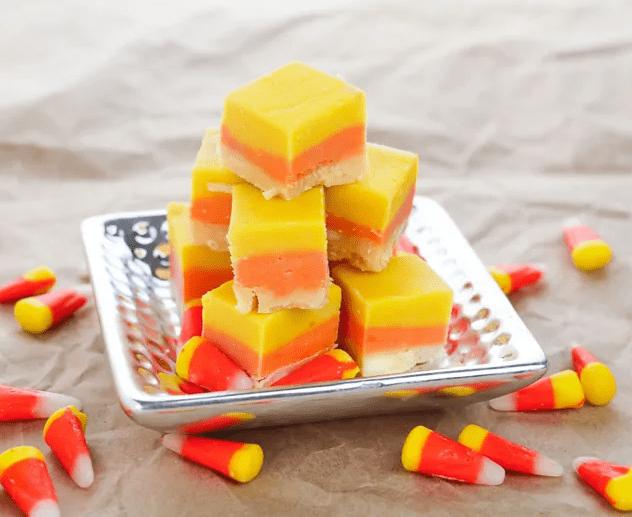 white, orange, and yellow layered fudge squares