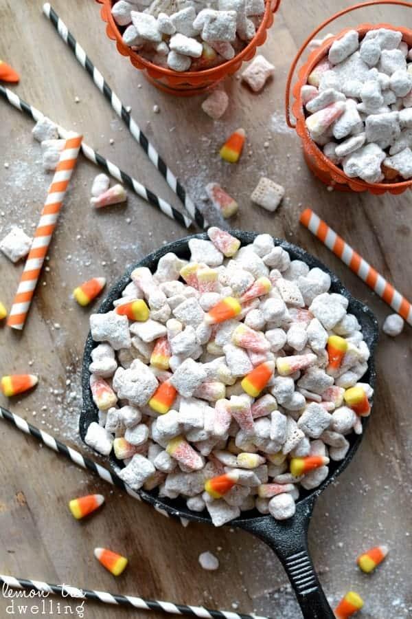 classic muddy buddy recipe with candy corn added