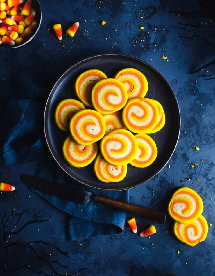 Pinwheel design candy corn colored cookie dough