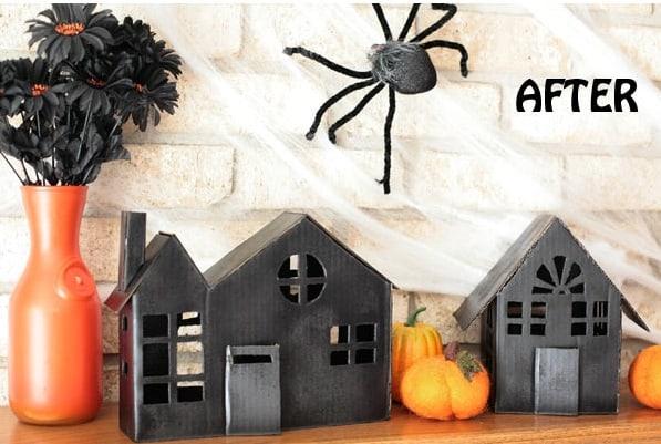 DIY Halloween Decor Idea with cardboard houses
