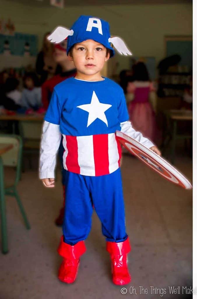 homemade captain american costume for DIY kids halloween costume