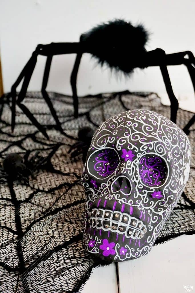 DIY Halloween Decor idea with sugar skull